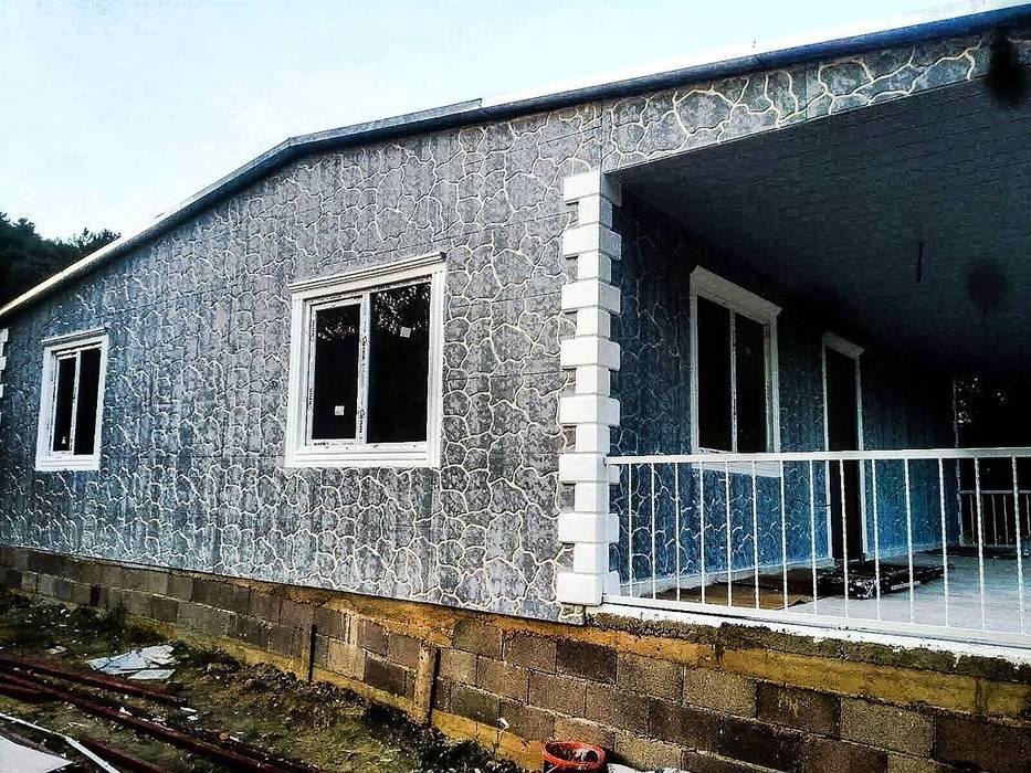 Kayrak taş görünümlü söve mantolamalı betopan prefabrik ev Hannprefabrik