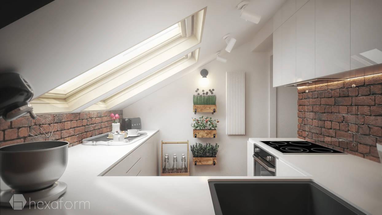 Projekt Mieszkania Na Poddaszu Styl W Kategorii Kuchnia