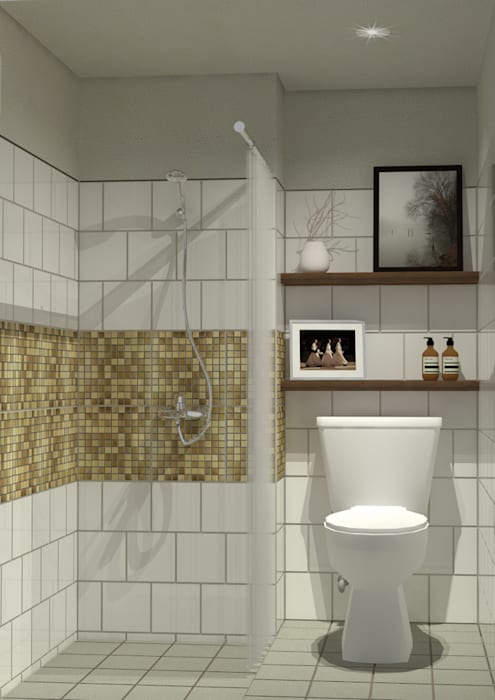 Show Unit - Type A (18 m2) - Kamar Mandi studio tektonik Kamar Mandi Gaya Skandinavia Keramik White