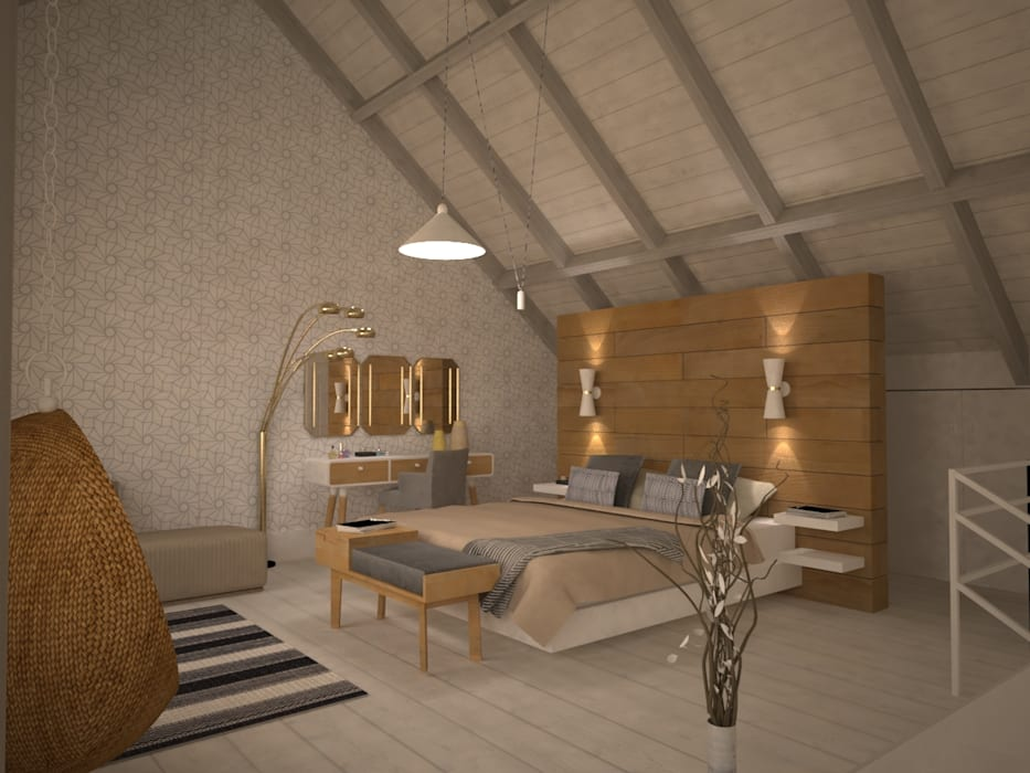 Bedroom by homify, Scandinavian Wood Wood effect
