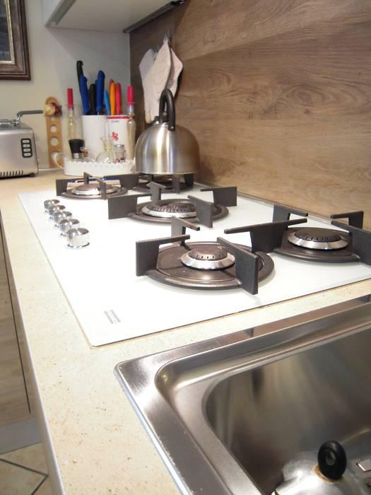 Piano cottura cristallo bianco a gas da cm 90: cucina in stile di ...