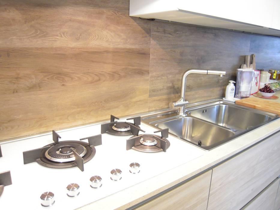 Arredamento Piano Cottura.Piano Cottura Cristallo Bianco E Lavello 2 Vasche Inox Con