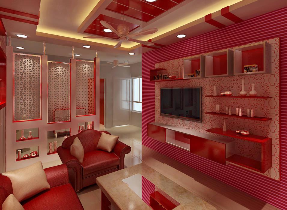 3 Bedroom Independent Floor:  Living room by Srijan Homes,Modern