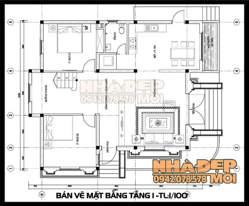 Bản vẽ thiết kế mặt bằng tầng 1 bởi Công ty TNHH TKXD Nhà Đẹp Mới Châu Á