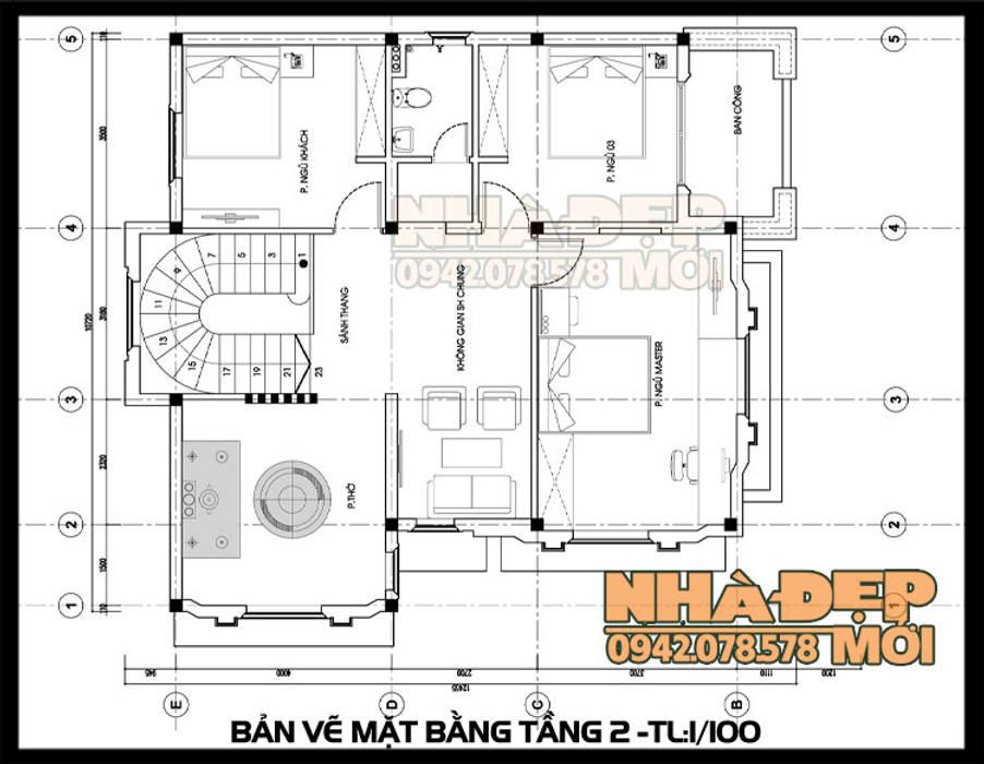 Bản vẽ thiết kế mặt bằng tầng 2 bởi Công ty TNHH TKXD Nhà Đẹp Mới Châu Á