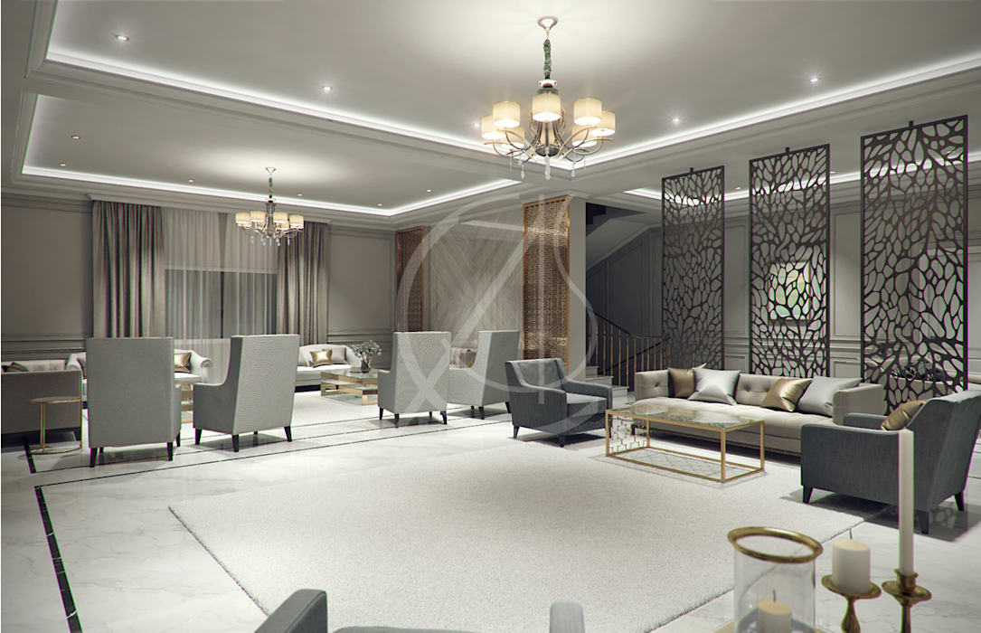 Majlis:  Living room by Comelite Architecture, Structure and Interior Design