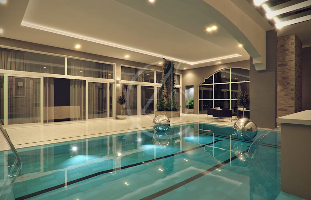 Indoor Pool:  Pool by Comelite Architecture, Structure and Interior Design