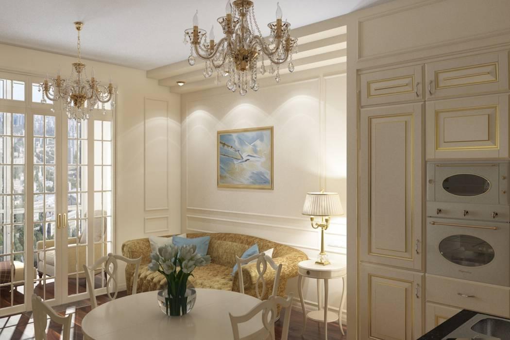 Зона гостиной: Гостиная в . Автор – МайАрт: ремонт и дизайн помещений