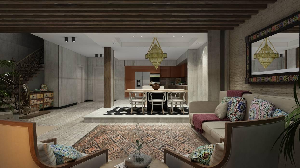 Ruang Keluarga oleh ICONIC DESIGN STUDIO, Eklektik