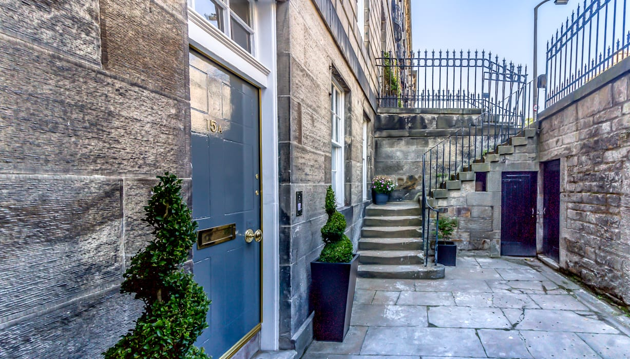 Entrance to a refurbished listed basement flat, Edinburgh New Town:  Front doors by Capital A Architecture , Minimalist