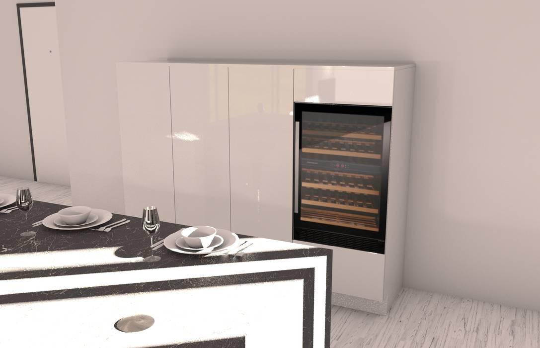 Colonne con cantinetta e dispensa: cucina in stile in stile moderno ...