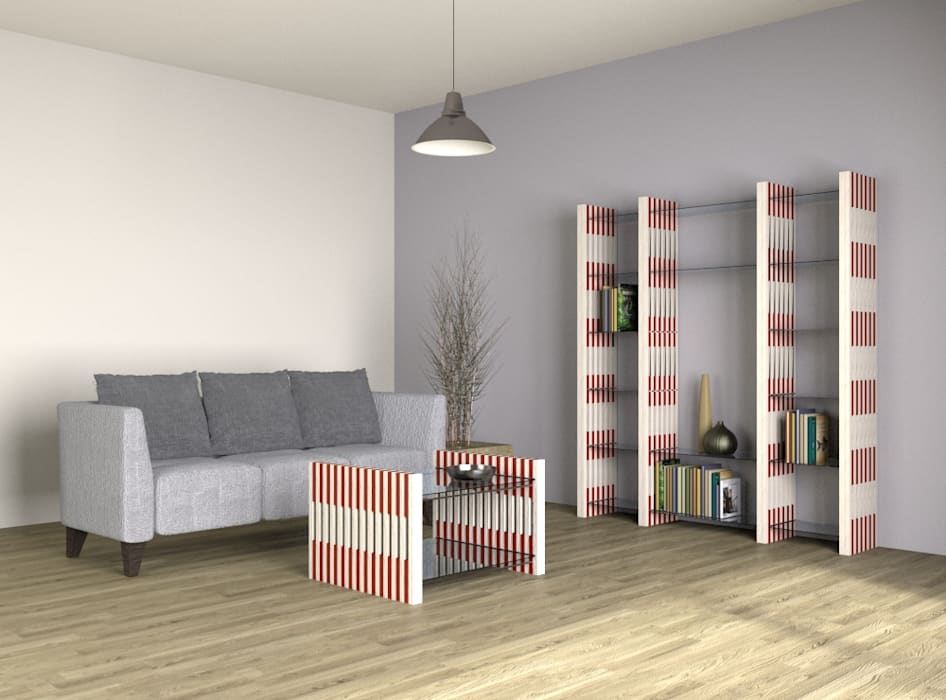 Architekturbüro Michael Bidner Living roomShelves Wood Multicolored