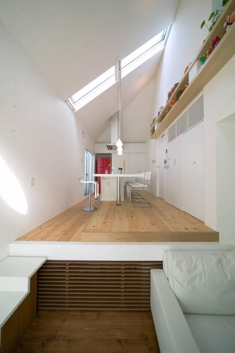 スキップフロアの家/白金台(愛犬家住宅): 前田敦計画工房が手掛けたリビングです。