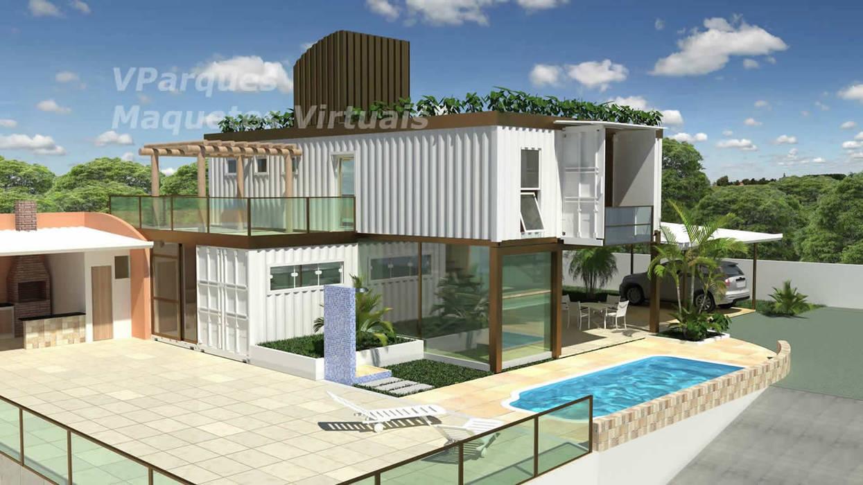 Casa Container-  Salvador Ba: Casas pré-fabricadas  por VParques Arquitetura e Serviços,Moderno
