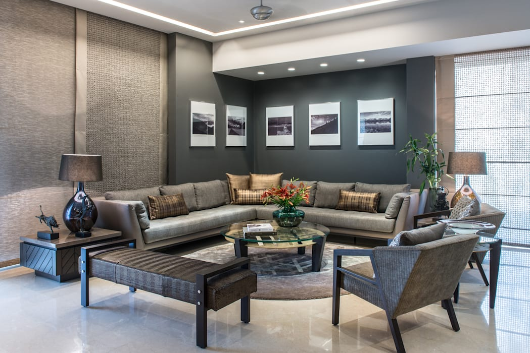 Apartment in Juhu:  Living room by Rakeshh Jeswaani Interior Architects