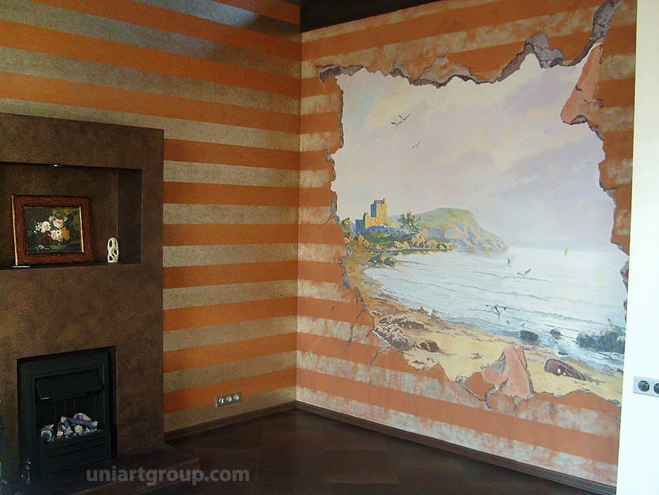 Роспись в каминном зале.: Гостиная в . Автор – Art Universal Group
