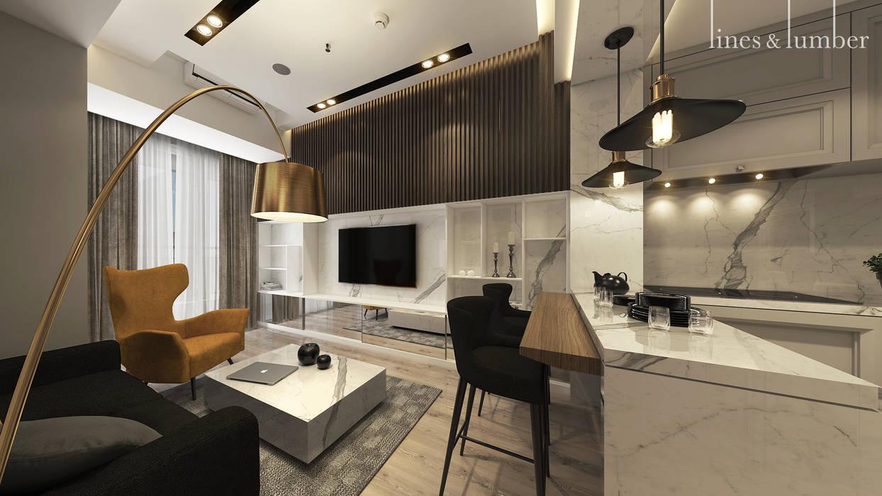 Living Room : Ruang Keluarga oleh Lines & Lumber ,