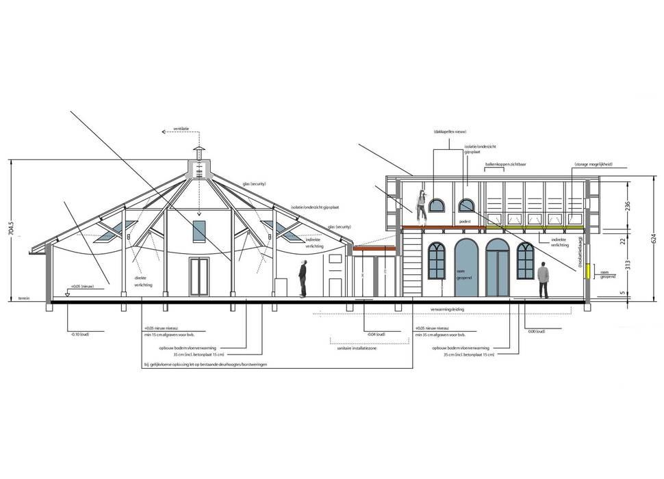 Schnitt Gebäudeteile:   von Resonator Coop Architektur + Design,
