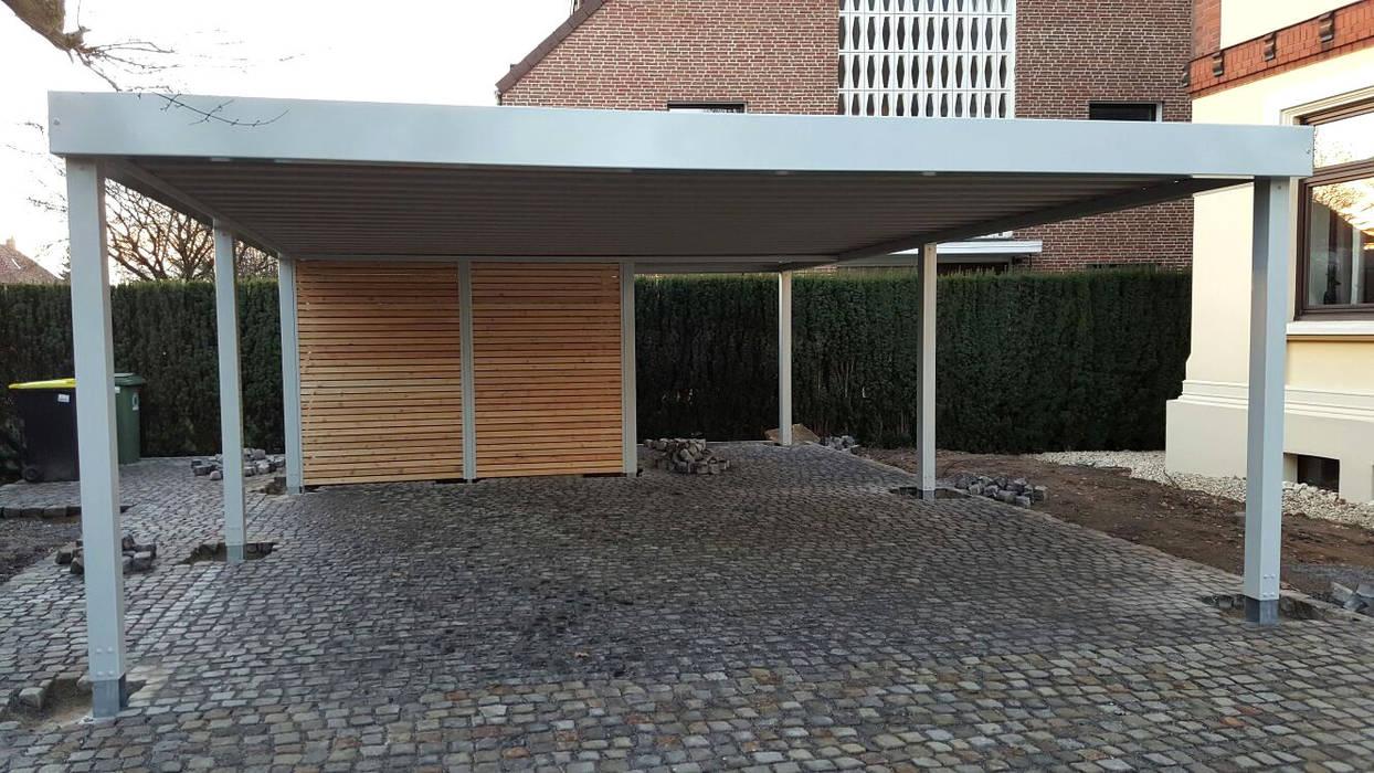 Doppelcarport offen Moderne Garagen & Schuppen von Carport-Schmiede GmbH & Co. KG - Hersteller für Metallcarports und Stahlcarports auf Maß Modern Eisen/Stahl