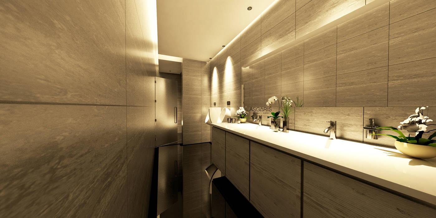 Public Toilet Apartment ASGARIS studio Kamar Mandi Modern Marmer Beige