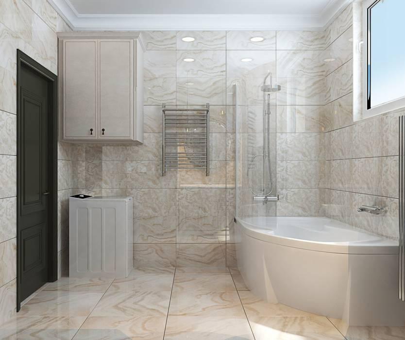 3к.кв. в ЖК Липки Парк Хаус (93 кв.м): Ванные комнаты в . Автор – ДизайнМастер