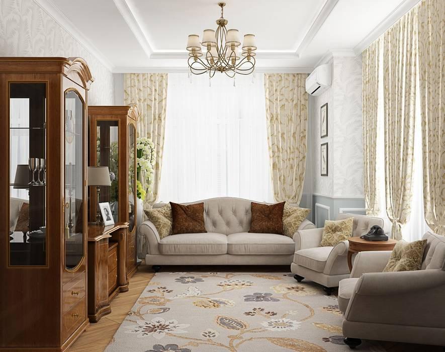 3к.кв. в ЖК Липки Парк Хаус (93 кв.м): Гостиная в . Автор – ДизайнМастер