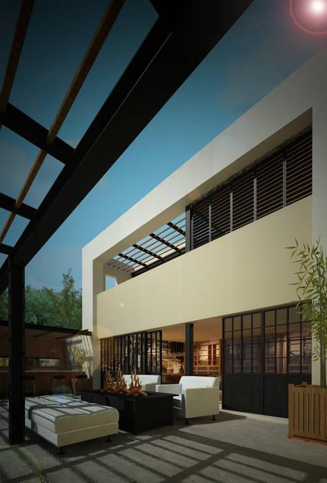 Sector Patio Comedor Privado: Jardines en la fachada de estilo  por Dsg Arquitectura