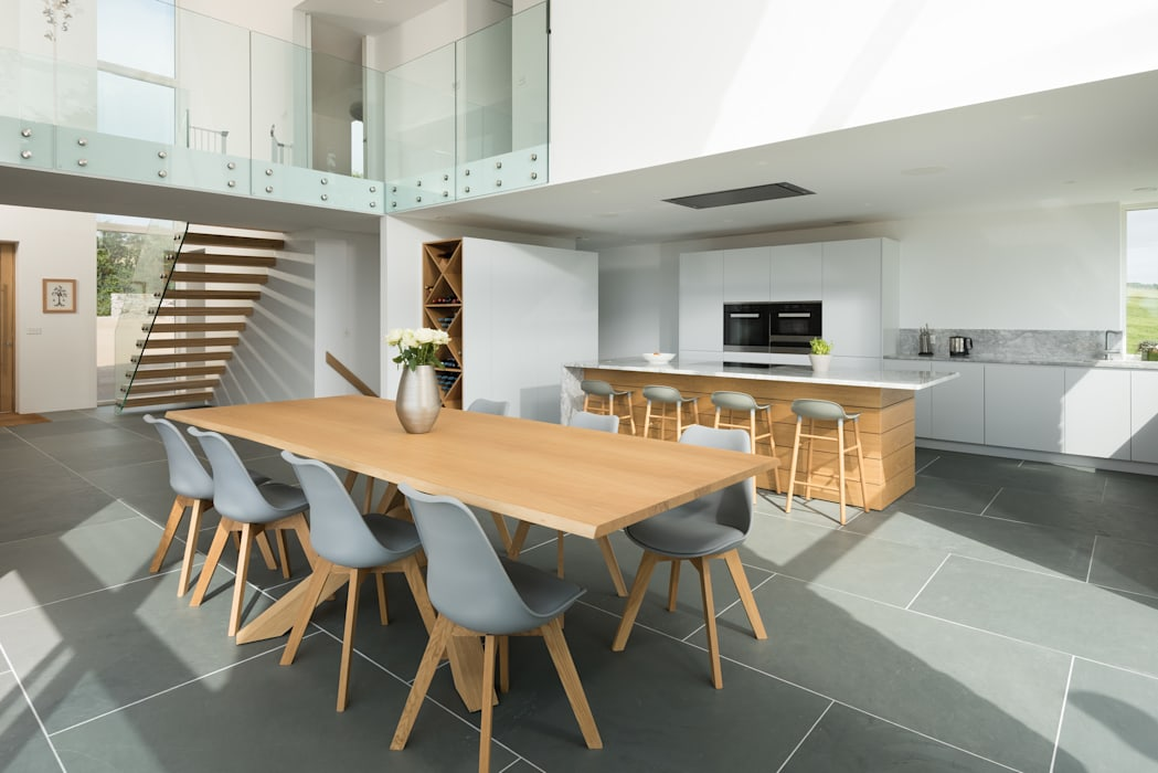 Contemporary Replacement Dwelling, Cubert:  Dining room by Laurence Associates, Modern