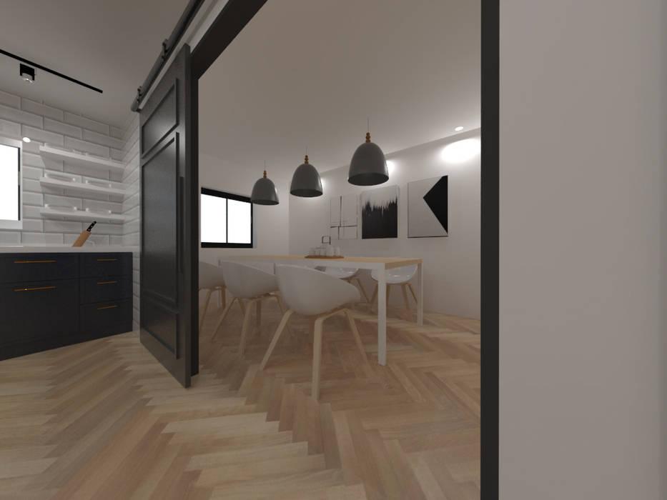 두공간을-- 한공간으로 인테리어 디자인: 디자인 이업의  주방,모던 솔리드 우드 멀티 컬러