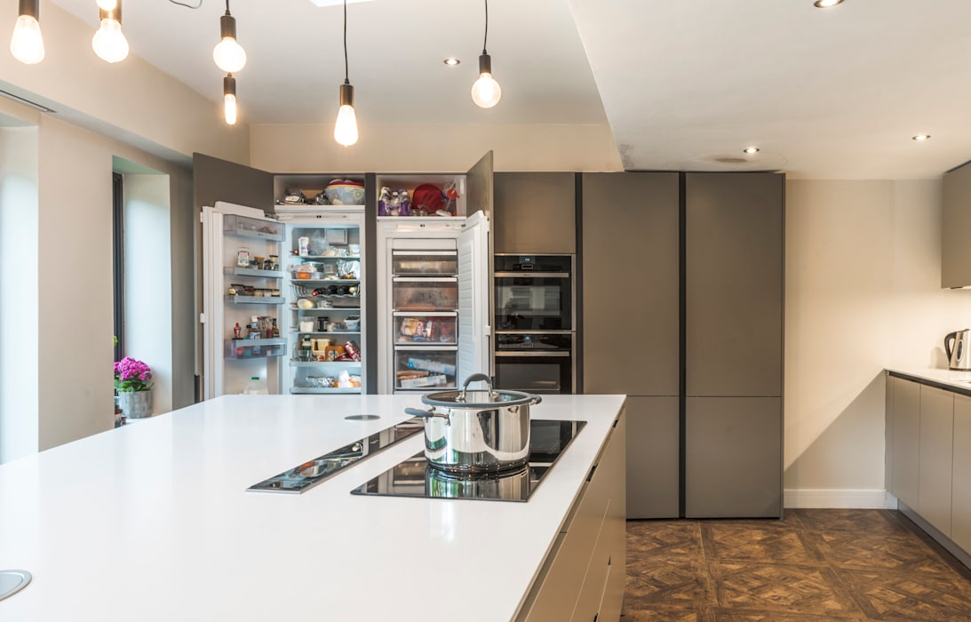 Fridge, Freezer, and Ovens housed in tall units:  Kitchen units by John Gauld Photography