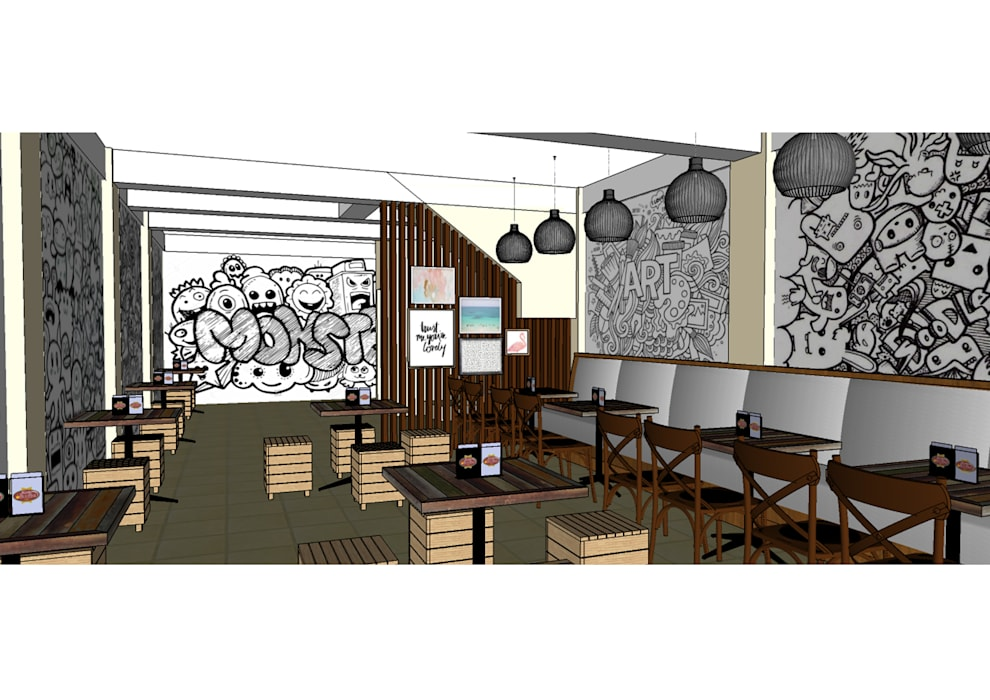 Area lantai 2 Ruang Makan Gaya Industrial Oleh Asanka Interior Industrial