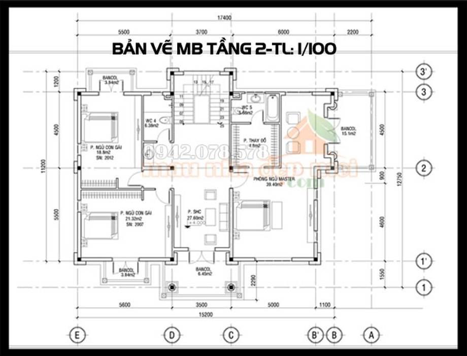 Bản vẽ phương án mặt bằng tầng 2:  Biệt thự by Công ty TNHH TKXD Nhà Đẹp Mới, Châu Á