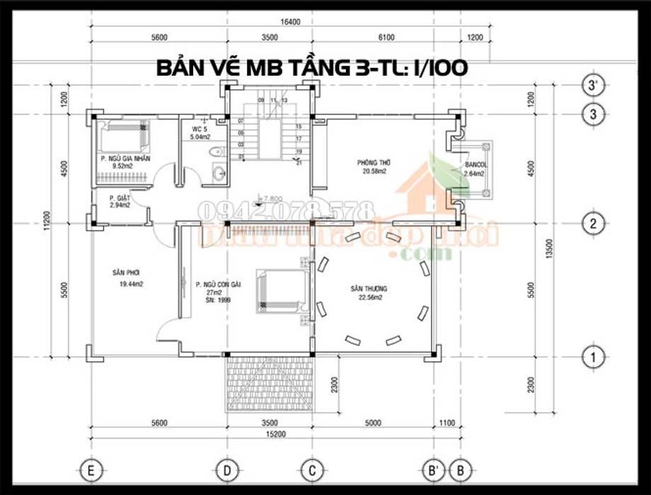 Bản vẽ phương án mặt bằng tầng 3:  Biệt thự by Công ty TNHH TKXD Nhà Đẹp Mới, Châu Á