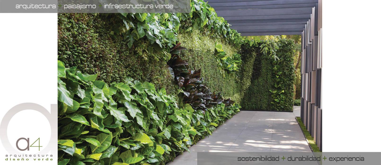 Jardines VERTICALES- Cubiertas VEGETALES: Jardines frontales de estilo  por A-CUATTRO ARQUITECTURA