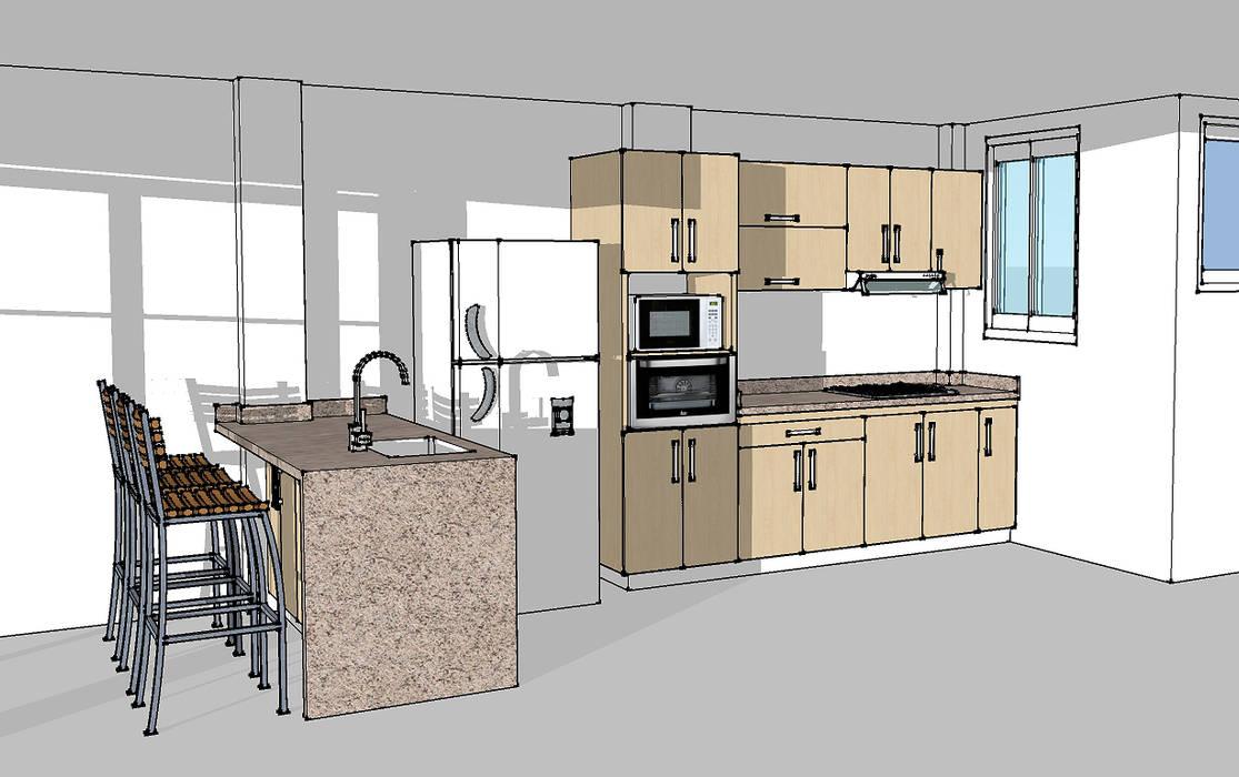 Cocina integral con barra Cocinas modernas de Remodelar Proyectos Integrales Moderno Aglomerado