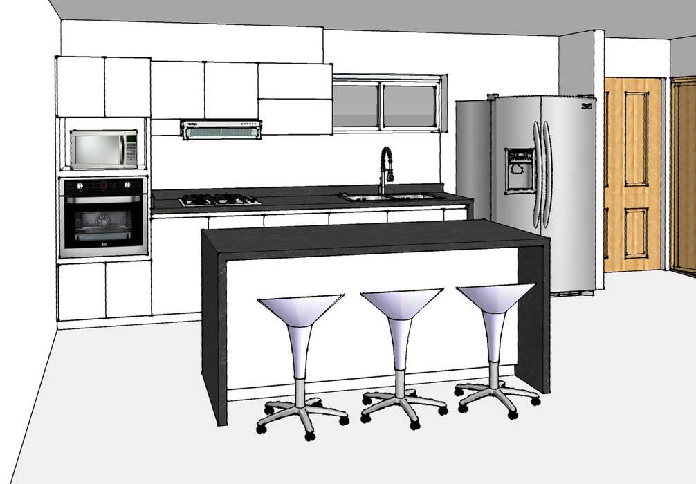 Cocina integral con isla: Cocinas de estilo  por Remodelar Proyectos Integrales, Moderno Granito