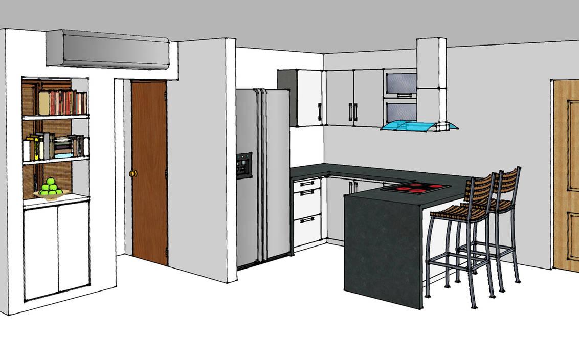 Cocina integral: Cocinas de estilo  por Remodelar Proyectos Integrales, Moderno Cuarzo