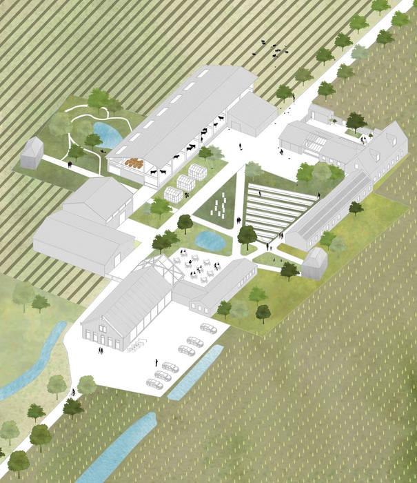 Binnenplaats met nieuwe bebouwing:   door Kevin Veenhuizen Architects,