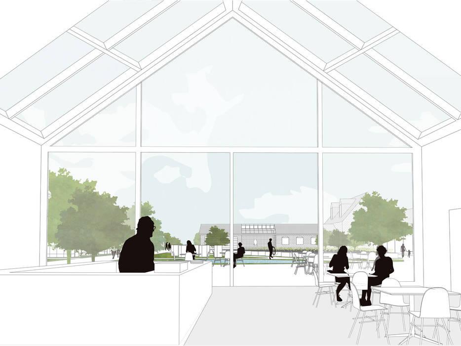 Cafe / winkel met uitzicht over binnenplaats:   door Kevin Veenhuizen Architects