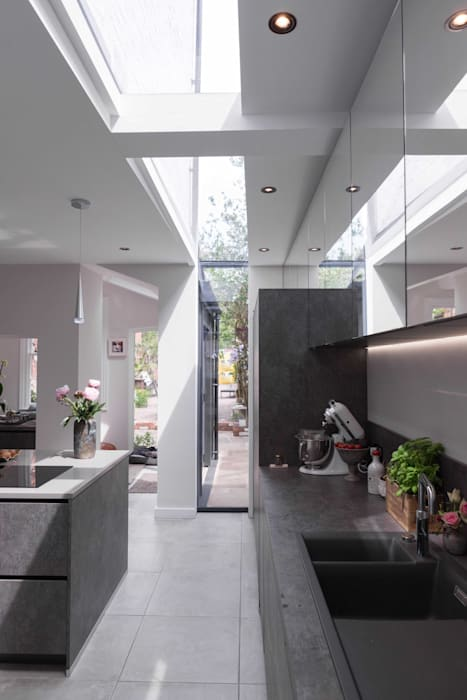Kitchen extension with slot rooflight guy taylor associates Modern kitchen