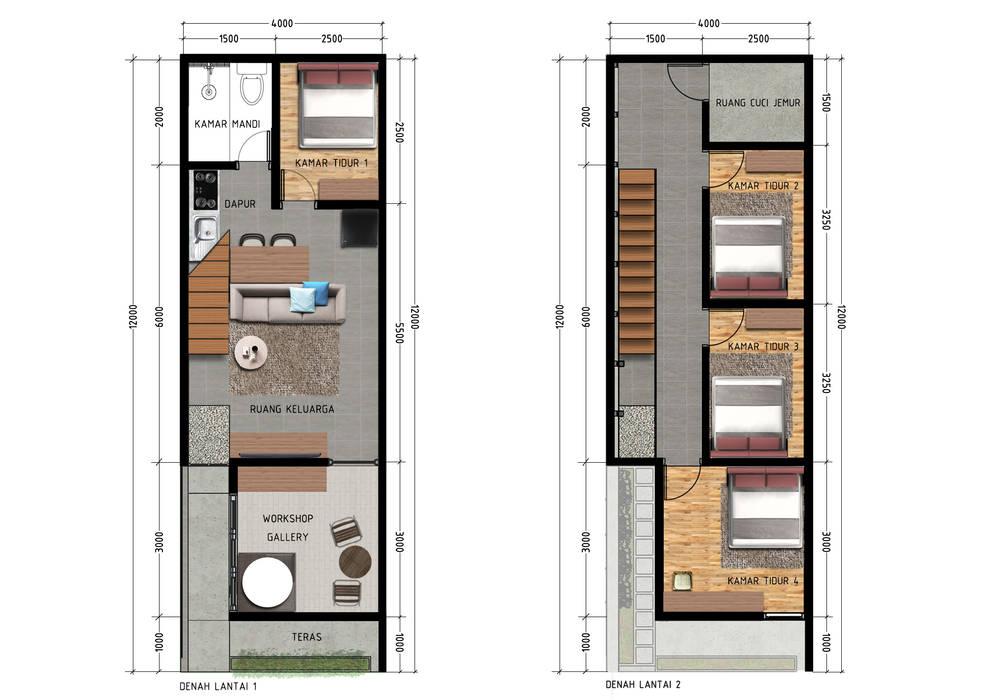 Denah lantai 1 & 2: Rumah tinggal  oleh SODA Indonesia,