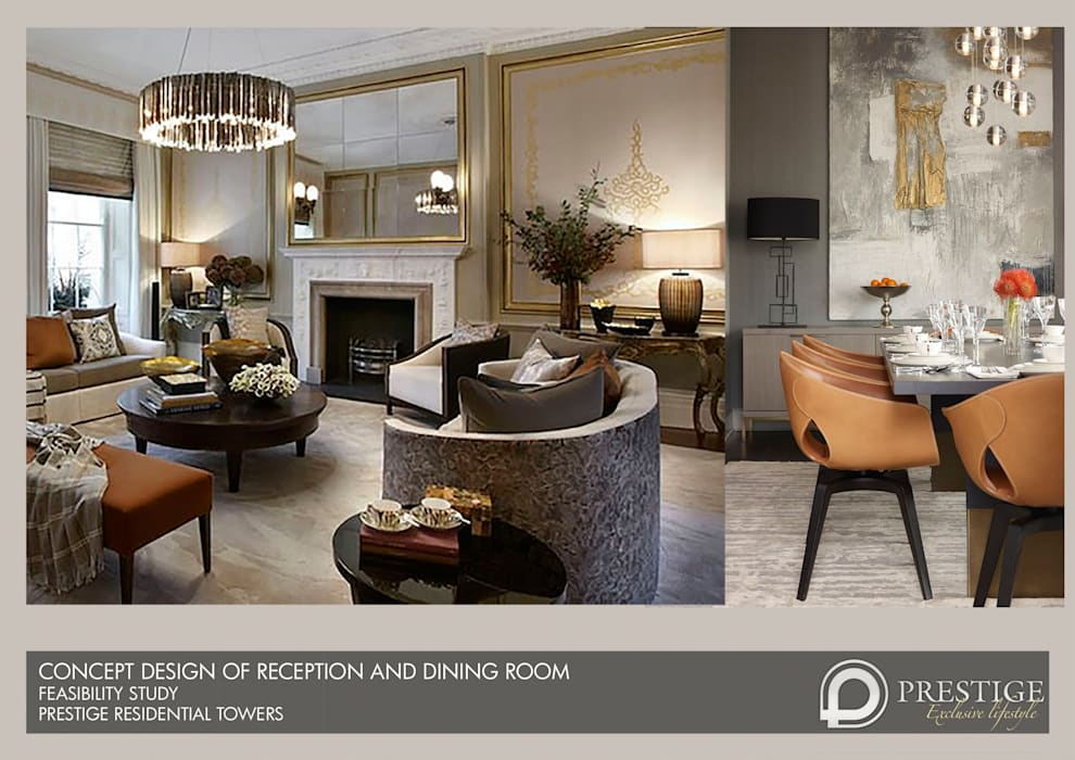 Concept Design of Reception and Dining room: modern Living room by Prestige Architects By Marco Braghiroli