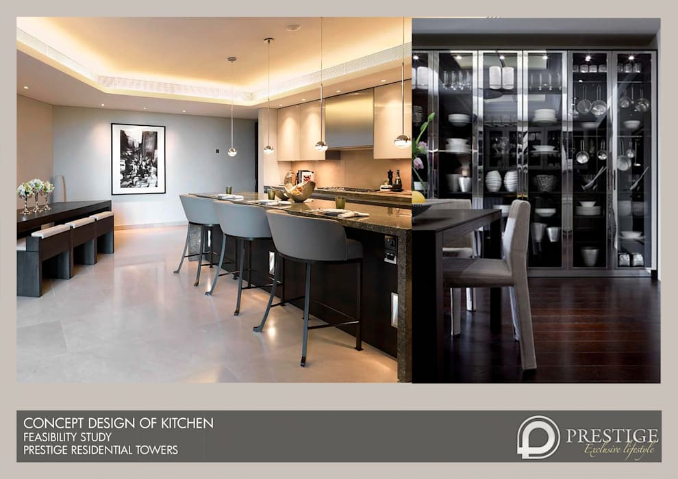 Concept Design of Kitchen: modern Dining room by Prestige Architects By Marco Braghiroli