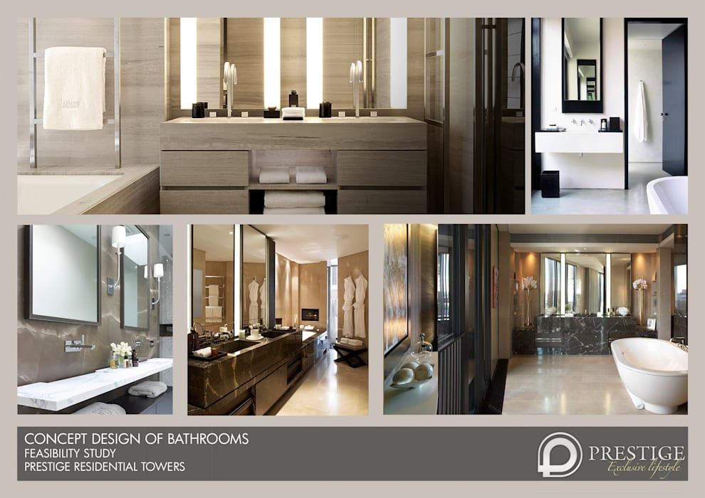 Concept Design of Bathroom: modern Living room by Prestige Architects By Marco Braghiroli