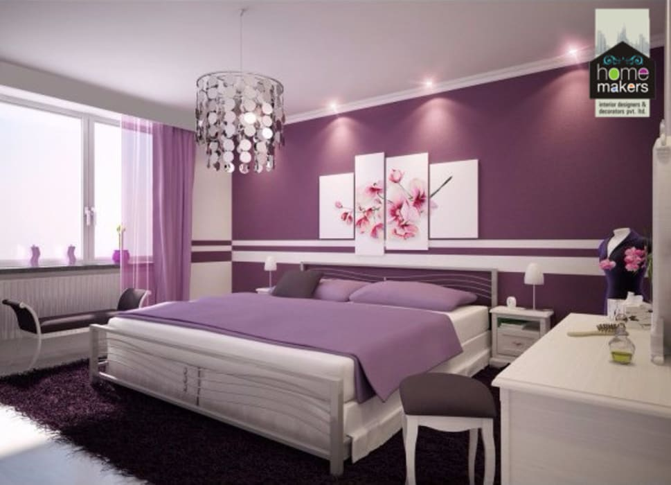 Purple Girlish Bedroom: modern Bedroom by home makers interior designers & decorators pvt. ltd.