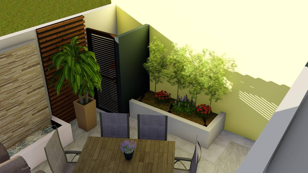 Área de guardado al aire libre y remate visual homify Jardines de estilo moderno