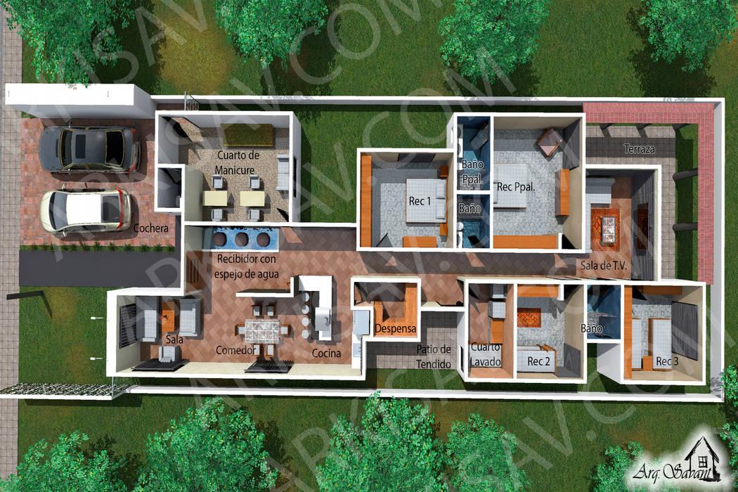 Vista de la distribuci n de los espacios casas - Distribucion casa ...