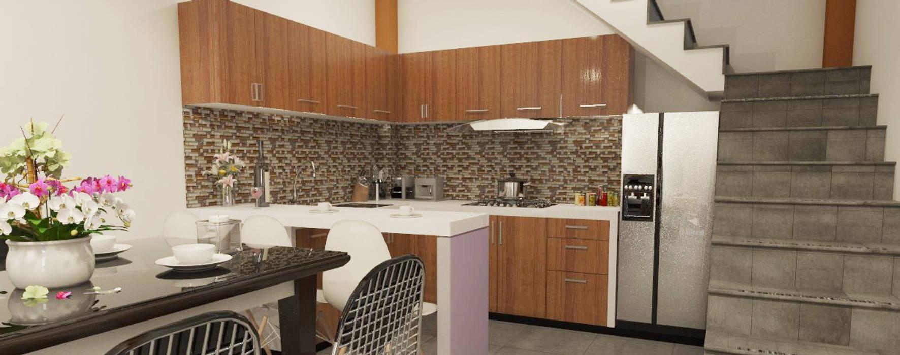 DISEÑO DE COCINA VIVIENDA (6.50 X 4m): Cocinas equipadas de estilo  por CN y Arquitectos
