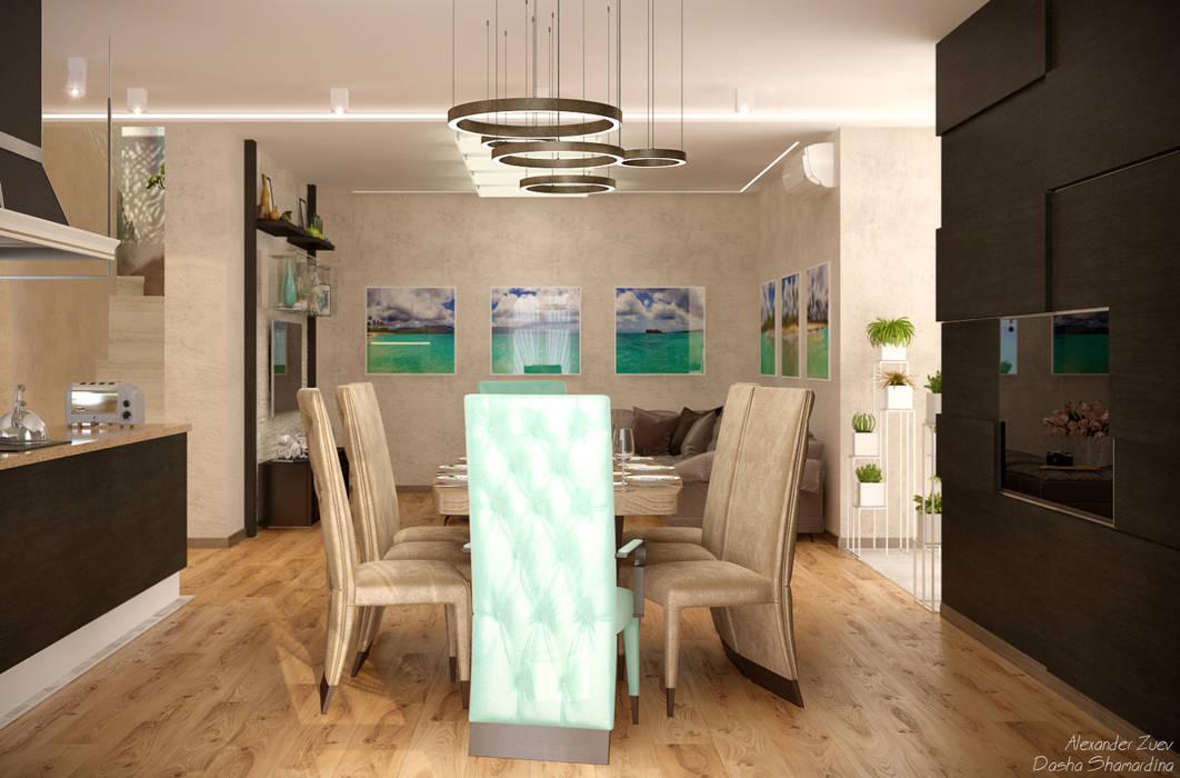 Дизайн кухни-гостиной-коридора в стиле модернизм в доме  в пос. Старобжегокай, г.Краснодар: Гостиная в . Автор – Студия интерьерного дизайна happy.design
