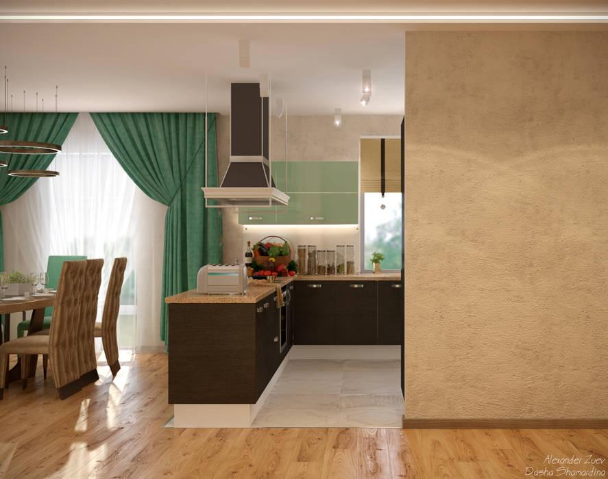 Дизайн кухни-гостиной-коридора в стиле модернизм в доме  в пос. Старобжегокай, г.Краснодар: Кухни в . Автор – Студия интерьерного дизайна happy.design